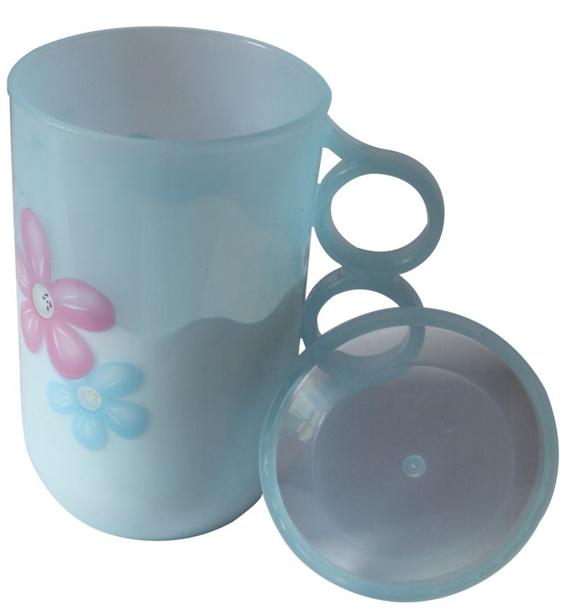 Buy Mankoose Printed Floral Cup With Lid & Handle 500 Ml Blue Color online