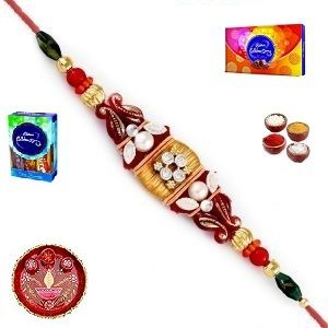 Buy Buy Rakhi To India - Elegant Stone And Pearl Rakhi (product Code - Jss073) online