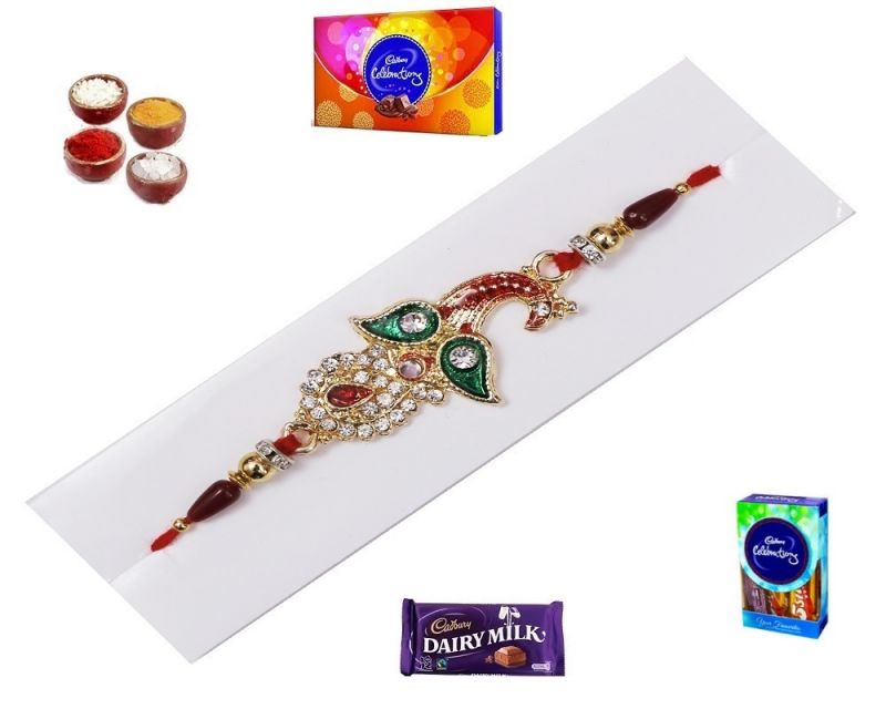 Buy Exclusive Red & Green Golden Rakhi Of American Diamond (product Code - Mo14004) online