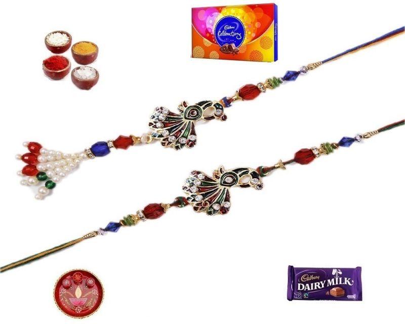 Buy Rakhi Gifts To India-elegant Stone And Pearl Bhaiya Bhabhi Rakhi (product Code - Mo18002bb) online