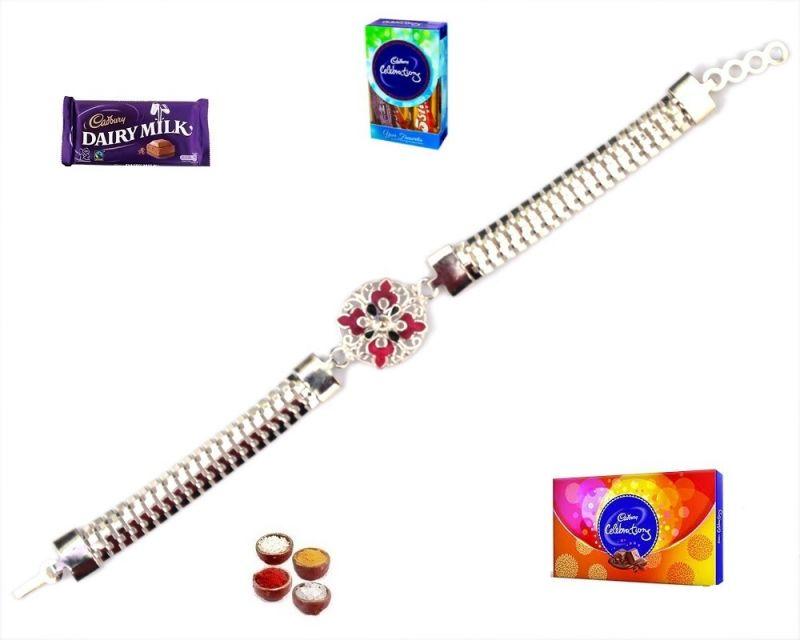 Buy Rakhi To India-astonishing Fabulous Silver Bracelet Rakhi (product Code - Mo20003) online