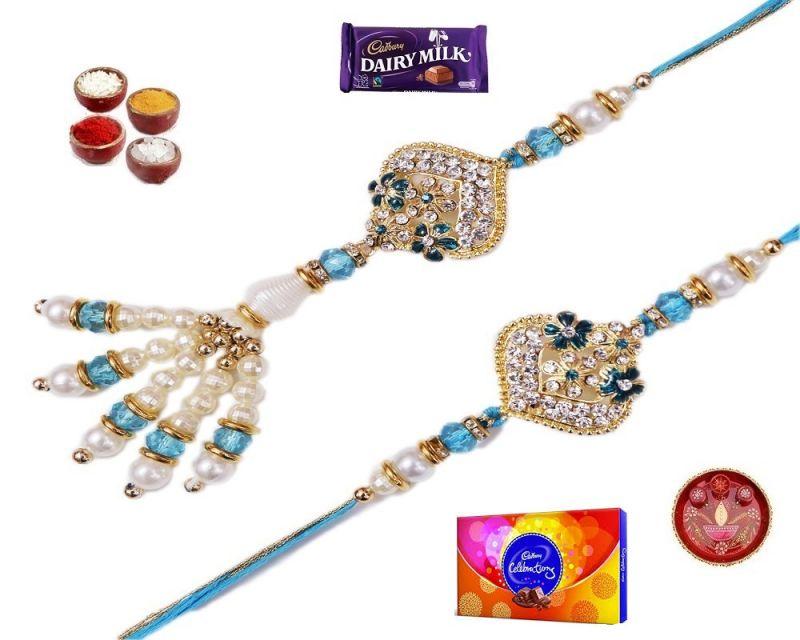 Buy Raksha Bandhan Gifts-stylish Pearl & Stone Bhaiya Bhabhi Rakhi Set (product Code - Mo44001) online