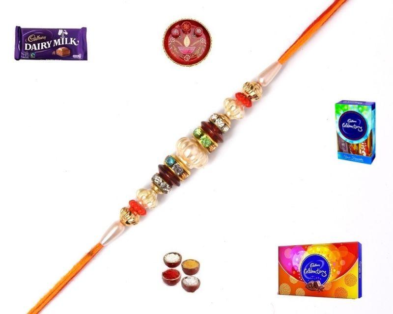 Buy Buy Rakhi Online-stone And Diamonds Thread Rakhi (product Code - Mo4826) online