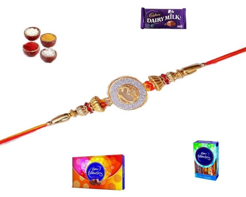 Buy Auspicious Gift Hamper Of Om Style Golden Rakhi (product Code - Sa1007) online