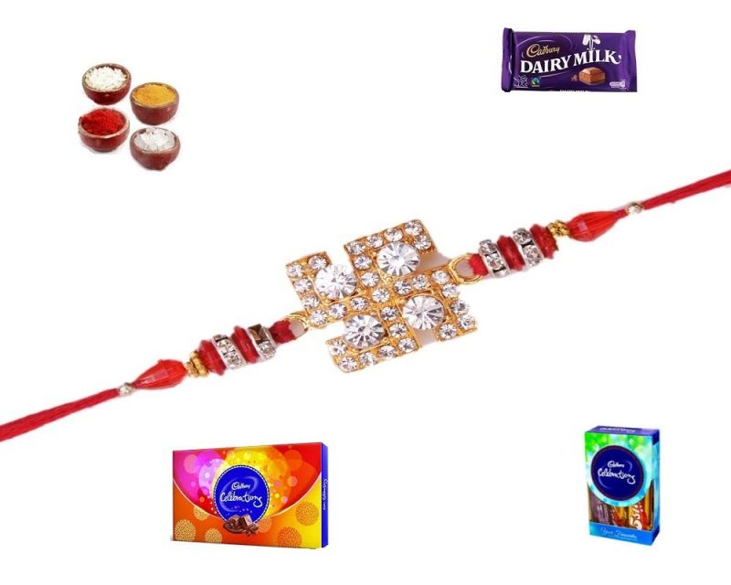 Buy Online Rakhi Shopping-swastik Diamond And Stone Rakhi (product Code - Sa1008) online