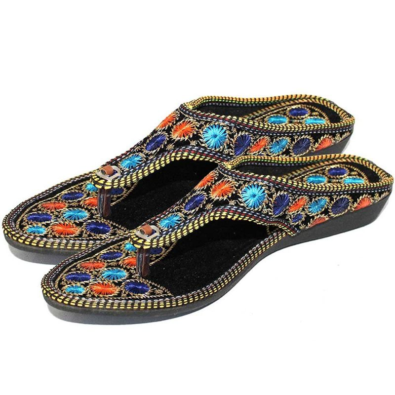 Buy Great Art Rajasthani Girls Women Multi-Color Hand Embroidery Round Jaipuri Velvet Chappal online