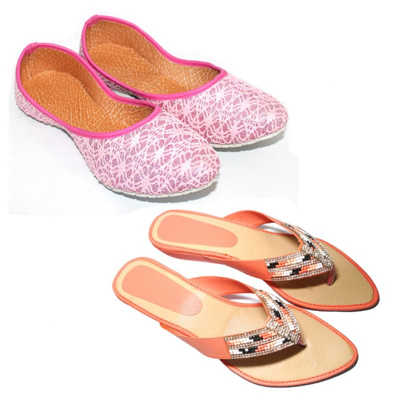 Buy Great Art Women New Design Party Wear Rajasthani Ballerinas Mojari Combo online