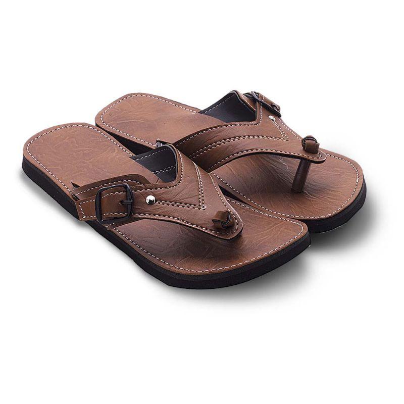 Buy Men Fashionable V-shape Tan Ethnic Mojari Chappal 203 online