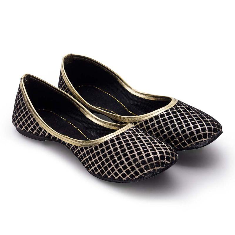 Buy Women Rajasthani Golden Chequered Ballerina Sandal 302 online