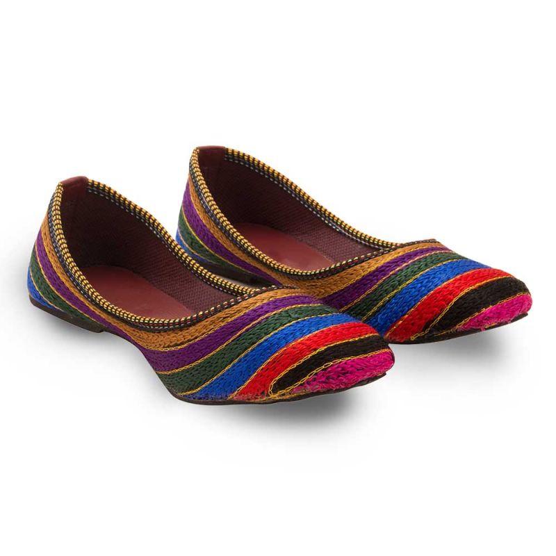 Buy Women Colorful Resham Zari Work Ballerina Sandals 306 online