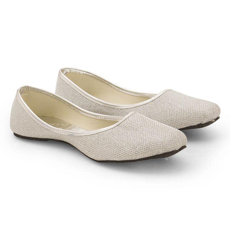 Buy Women Jaipuri Lightweight Silver Ballerina Sandals 310 online