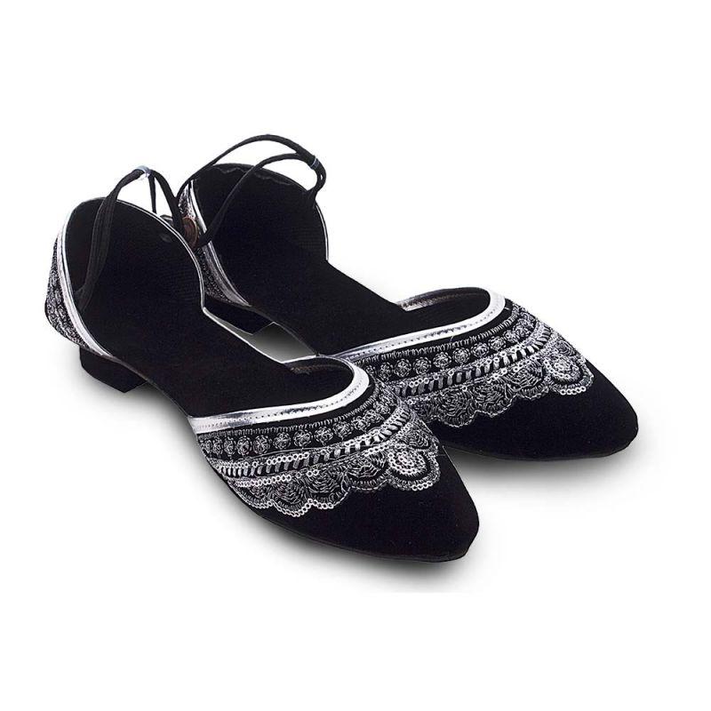 Buy Women Silver Zari Sequin Work Heeled Black Sandals 320 online