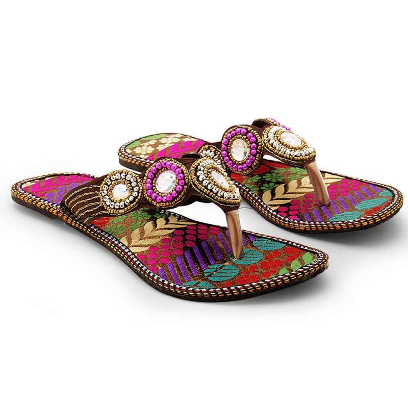 Buy Women Traditional Multi Color Ethnic Flat Chappal 332 online