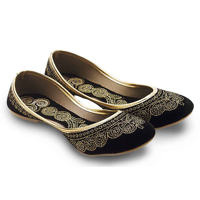 Buy Women Ethnic Black Velvet Fancy Ballerina Sandals 352 online