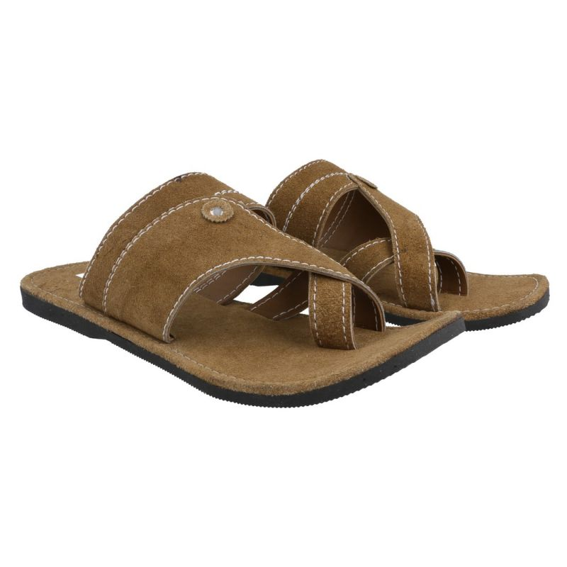 Buy Men Kolhapuri Design Leather Ethnic Mojari Slipper 207 online