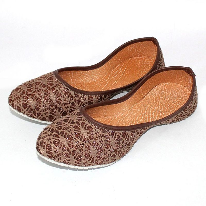 Buy Great Art Rajasthani Girls Women Brown Spider Design Round Jaipuri Jutti Ballerinas online