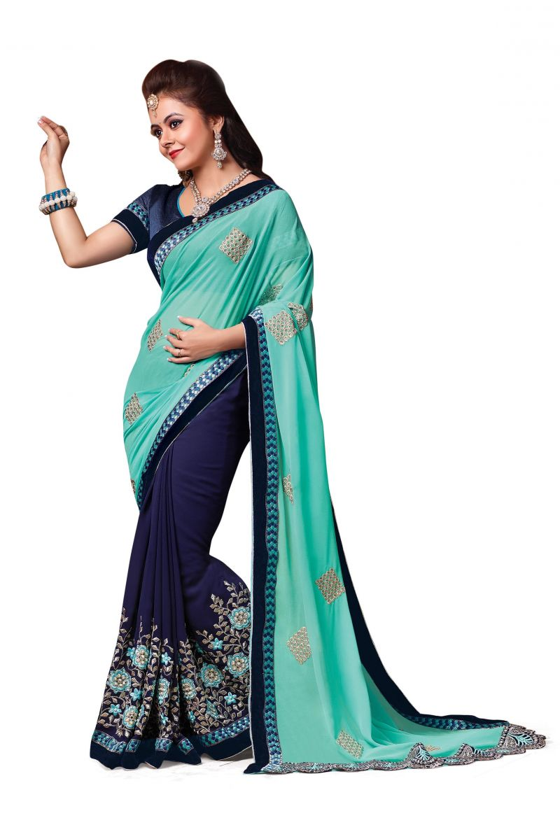 Buy Ridham Fashions Multi Colour Georgette Sarees (product Code - 6842) online