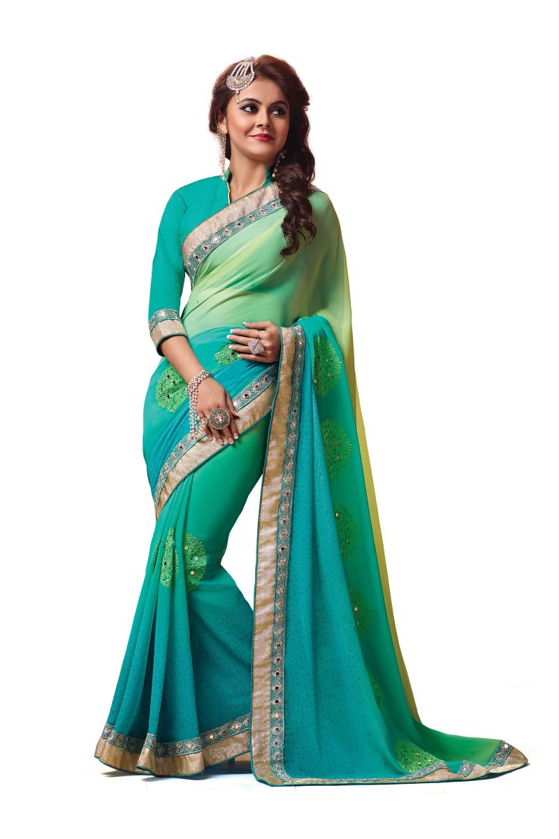 Buy Ridham Fashions Multi Colour Georgette Sarees (product Code - 6859) online