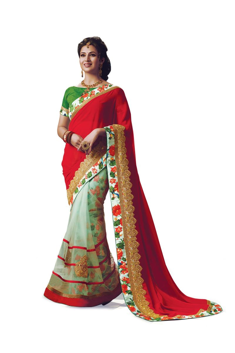 Buy Ridham Fashions Multi Colour Georgette Bollywood Replica Designer Sarees 6881-m online