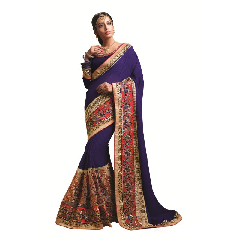 Buy Ridham Fashions Multi Color Georgette Designer Saree online
