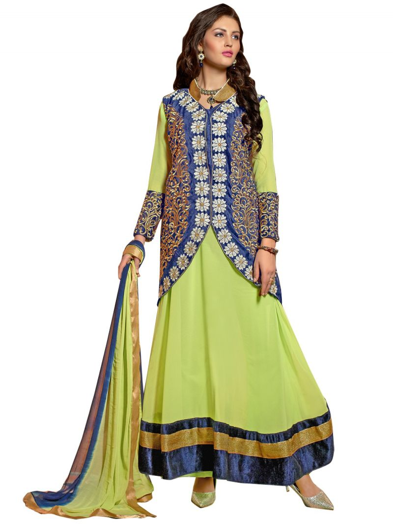 Buy Shree Vardhman Liril Faux Georgette Unstitched Salwar Suit Dress Material online