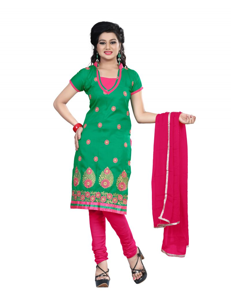 Buy Shree Vardhman Green Semi Cotton Top Straight Unstiched Salwar Suit Dress Material online