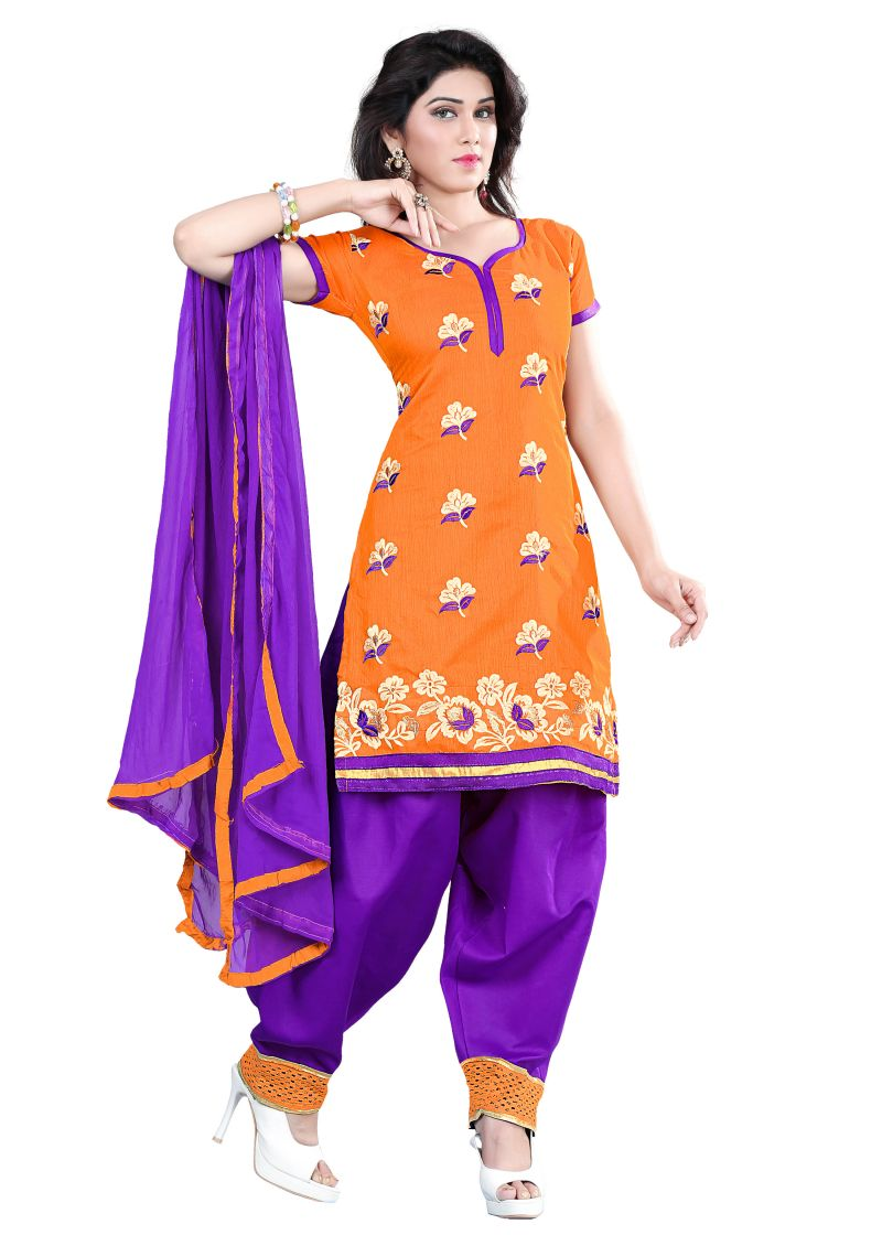Buy Shree Vardhman Mustered Embroidered Chanderi Top Straight Unstiched Dress Material online