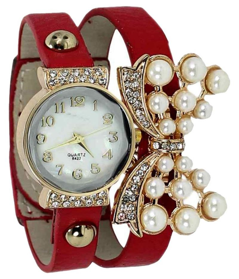 Buy Fap Analog Butterfly Design Red Colour Womens Ladies Girls Watch online