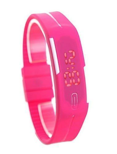 Buy LED Digital Watches Jelly Women Pink Wristwatch Magnet Buckle Clock online