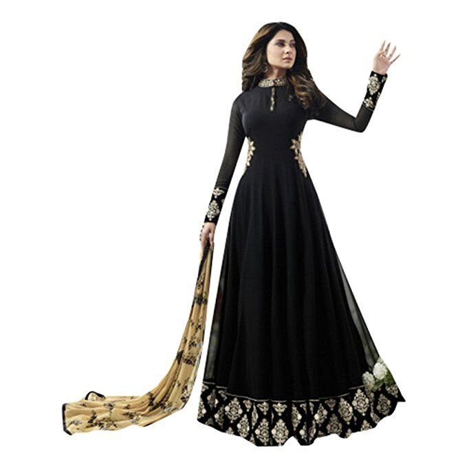 Buy Style Amaze Charming Black Color Georgette Embroidered Anarkali Salwar Suit (code -4477bk1108) online