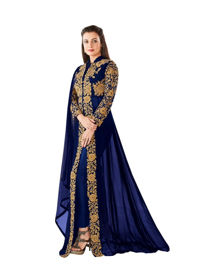 Buy Style Amaze Good Looking Designer Blue Color Georgette Anarkali Floor Length Suit (code -dia-8005) online