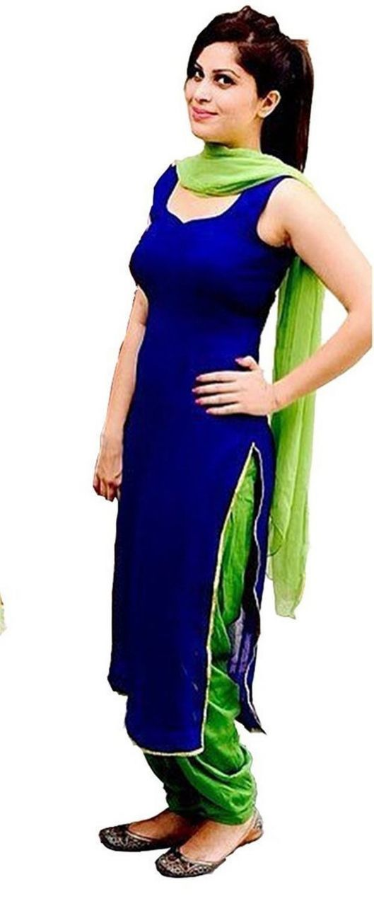 Buy Style Amaze Stylish Designer Blue & Green Color Cotton Patiala Salwar Suit(msstyle-6) online