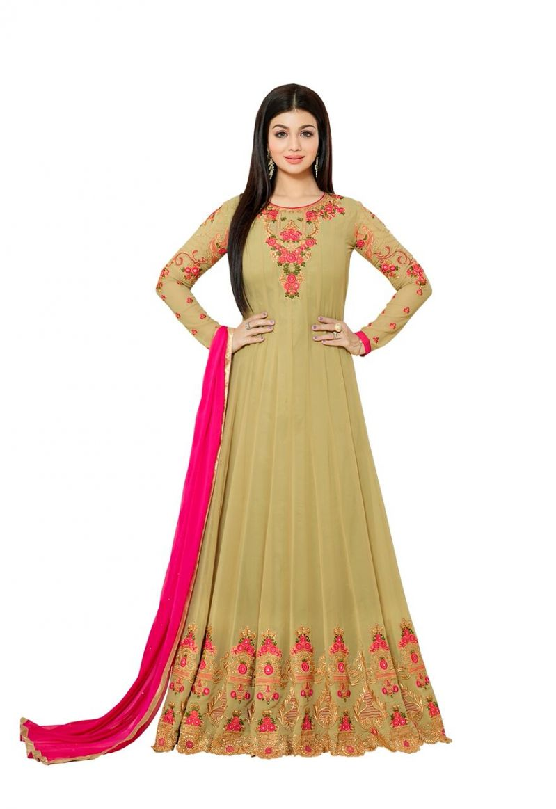 Buy Style Amaze Good Looking Beige Color Georgette Anarkali Floor Length Suit (code -noorjahan_1003) online