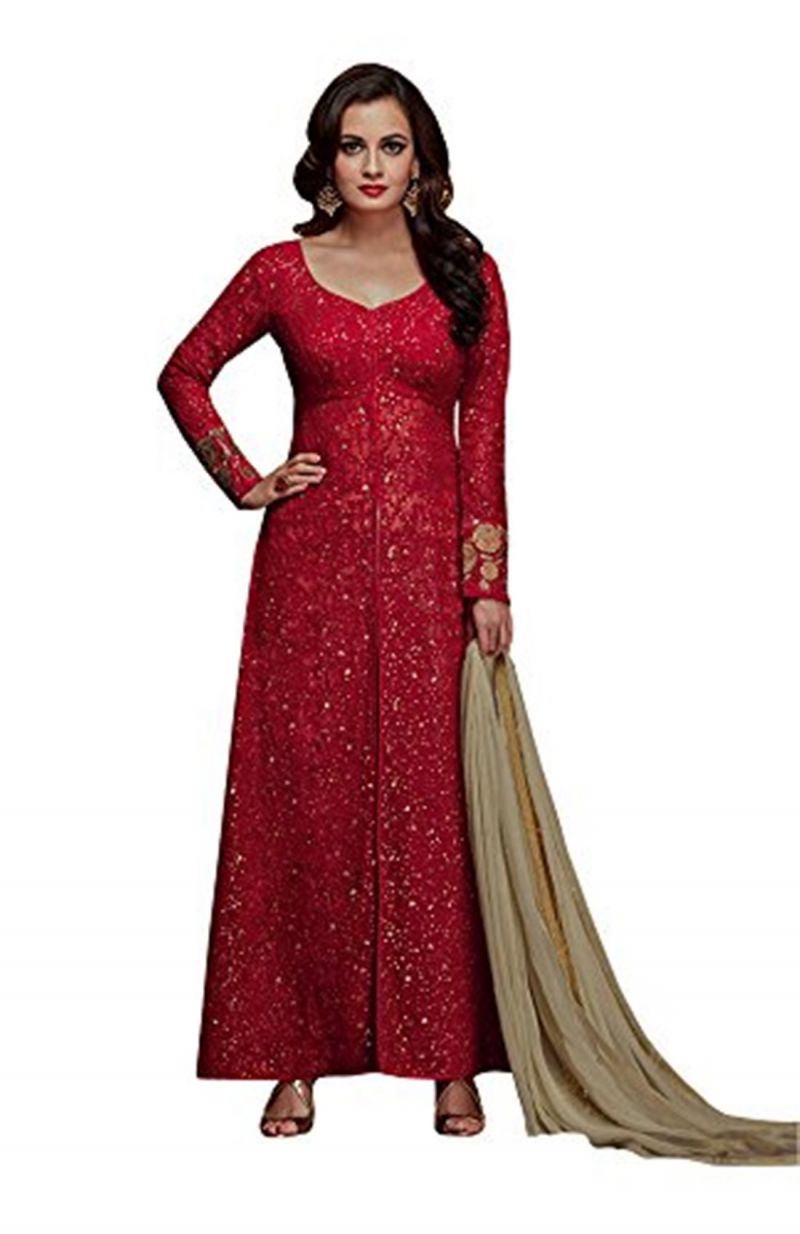 Buy Style Amaze Indian & Pakistani Georgette & Net Semi-sttiched Salwar Suit-sadiamirzavol5-5001 online