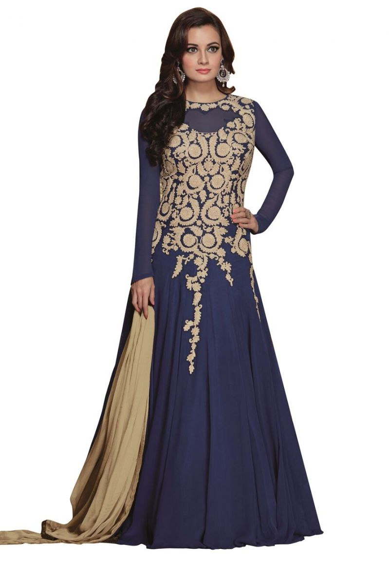 Buy Style Amaze Blue Color Georgette Embroidered Anarkali Suit (code -sadiamirzavol5-5005) online
