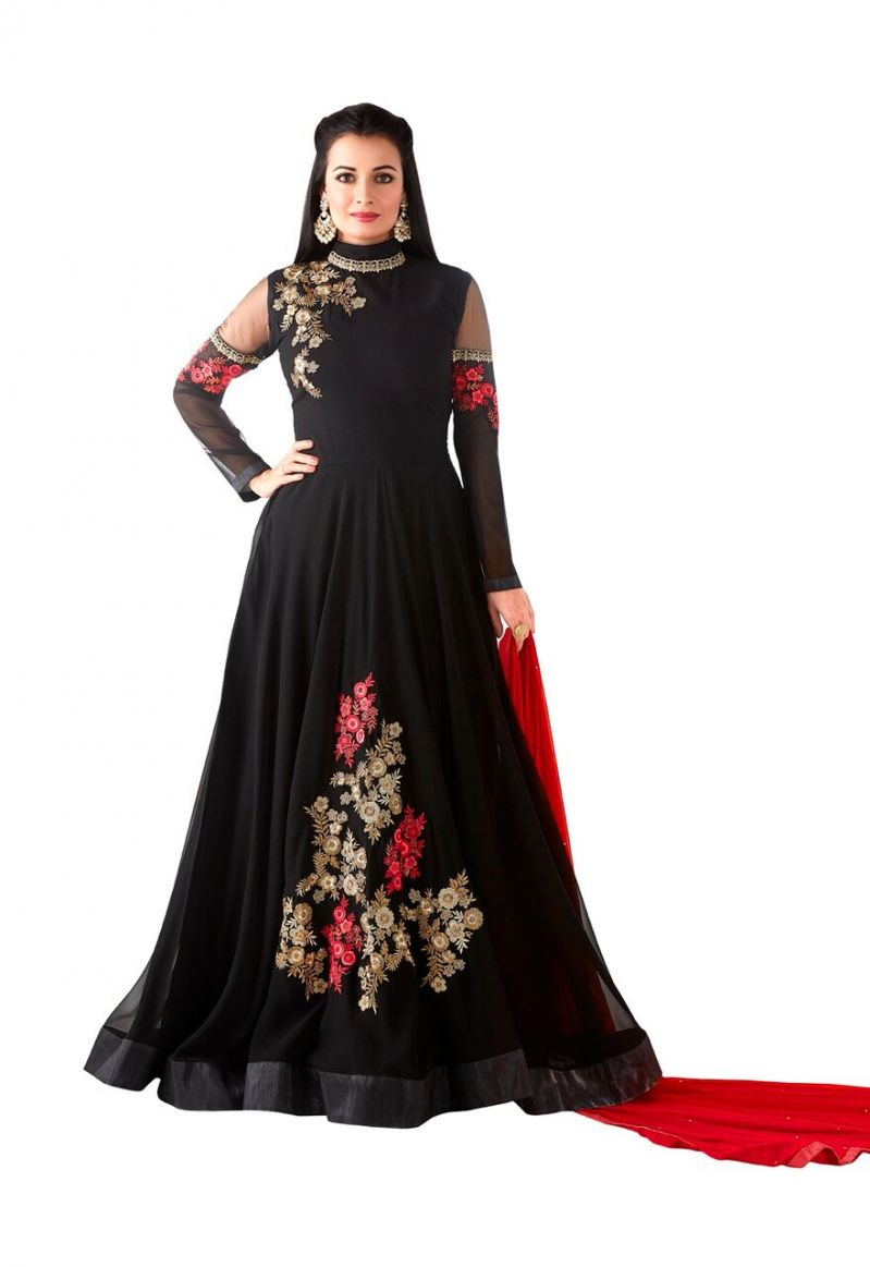 Buy Style Amaze Black Heavy Georgette Semi-stitched Anarkali Suit (code -sasunday-2101) online