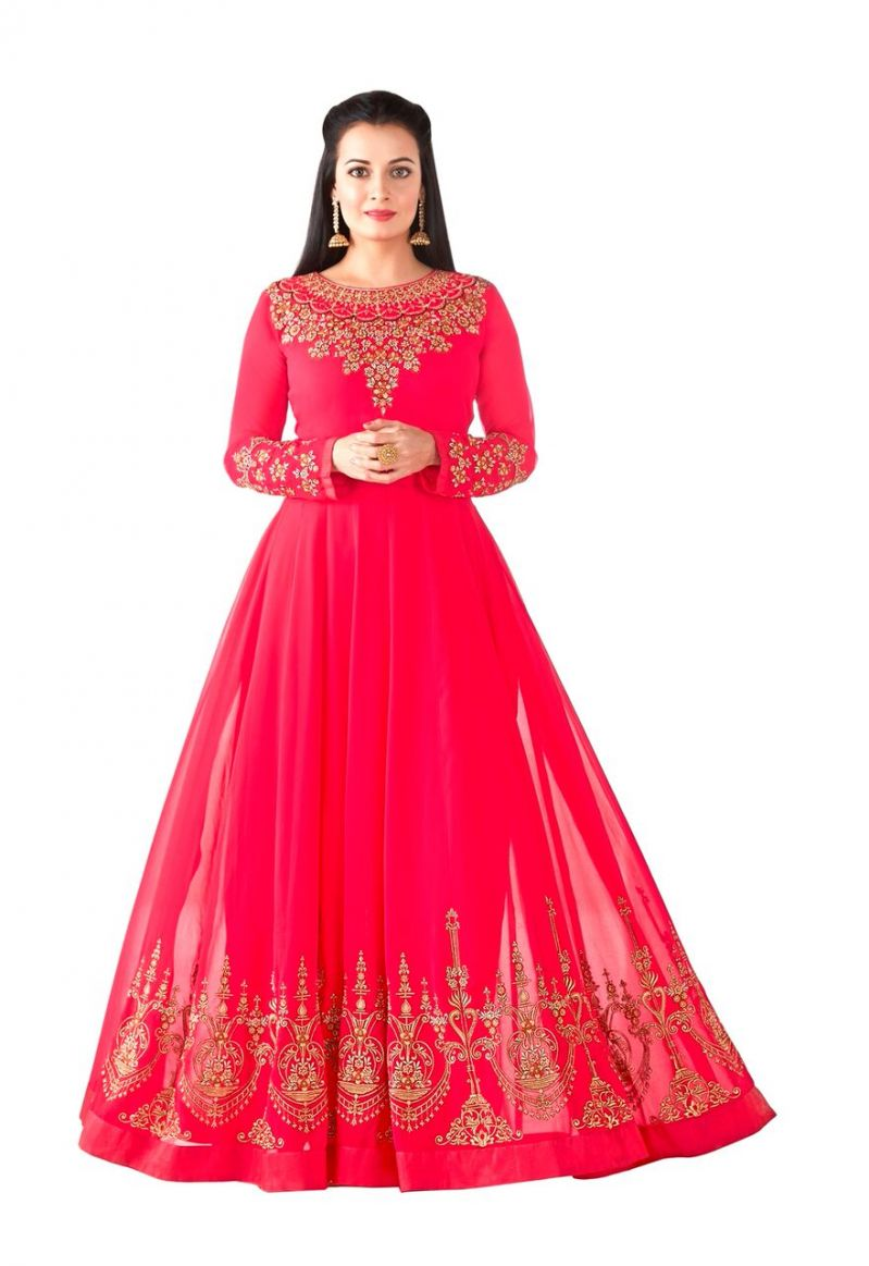Buy Style Amaze Pink Heavy Georgette Semi-stitched Anarkali Suit (code -sasunday-2102) online