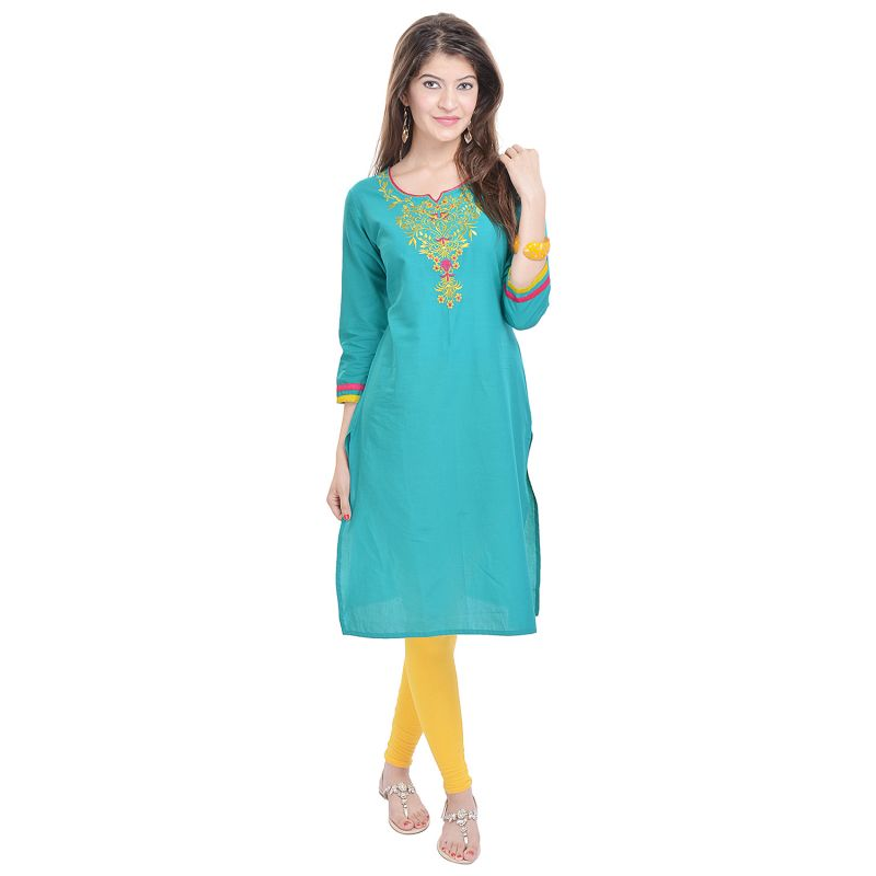 Buy Rangeelo Rajasthan Women's Jaipur Embroidered Straight Cotton kurti online