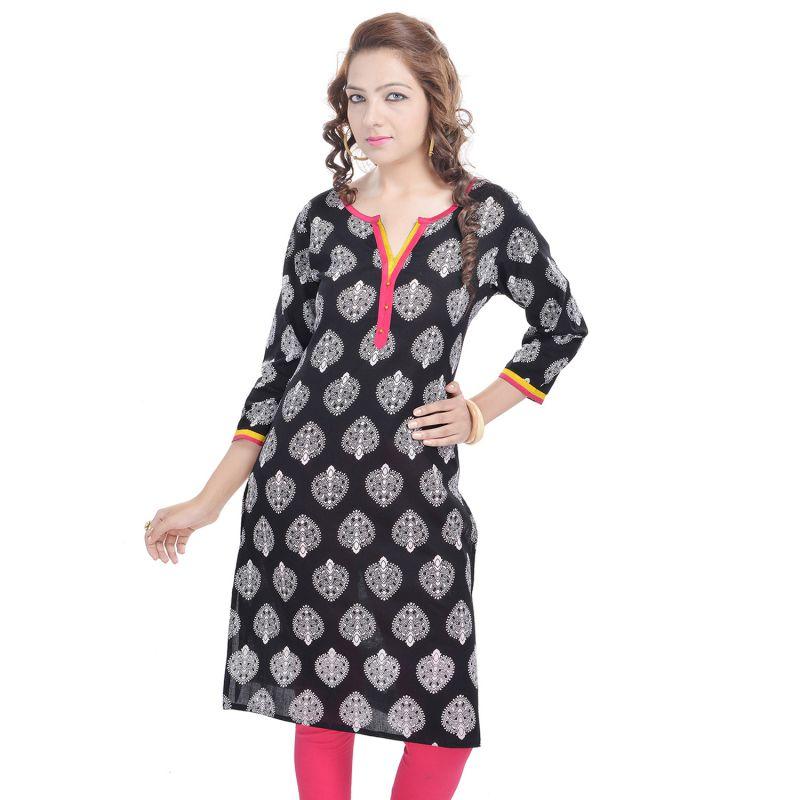 Buy Rangeelo Rajasthan Women's Jaipur Printed Straight Cotton Kurti_rar101pink online