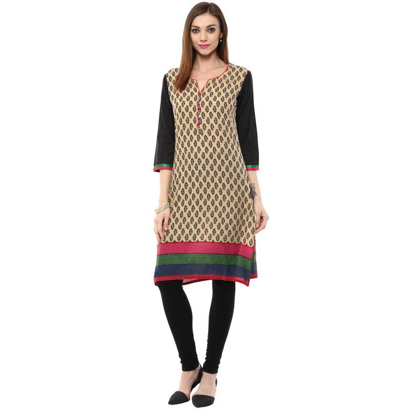 Buy Rangeelo Rajasthan Women's Jaipur Printed Straight Cotton Kurti_rar104red online