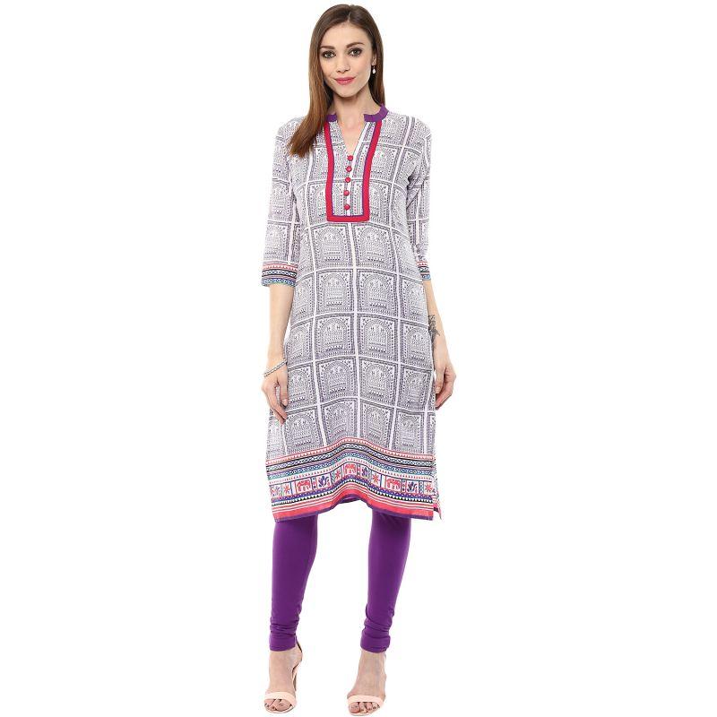 Buy Rangeelo Rajasthan Women's Jaipur Printed Straight Cotton Kurti_rar106purple online