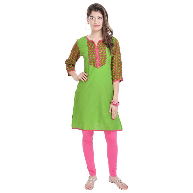 Buy Rangeelo Rajasthan Women's Jaipur Printed Straight Cotton Kurti_rar112green online