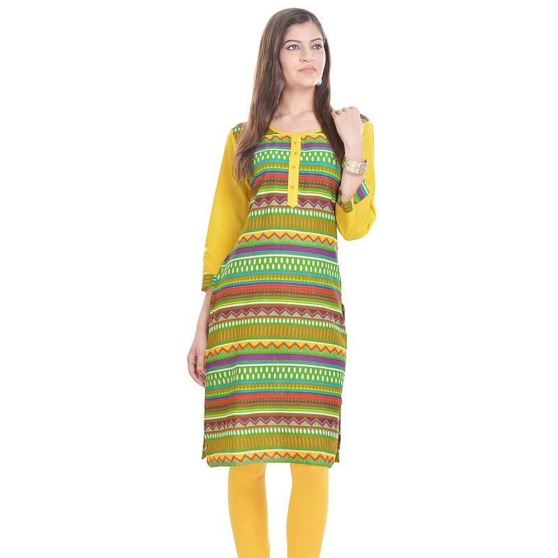 Buy Rangeelo Rajasthan Women's Jaipur Printed Straight Cotton Kurti_rar117green online