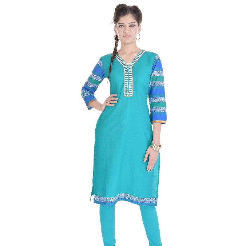 Buy Rangeelo Rajasthan Women's Jaipur Solid Straight Cotton Kurti_rar134blue online