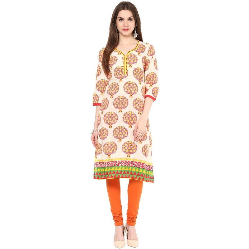 Buy Rangeelo Rajasthan Women's Jaipur Printed Straight Cotton Kurti_rar142yellow online