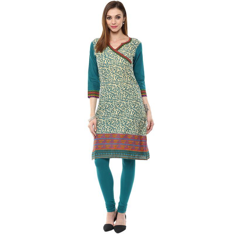 Buy Rangeelo Rajasthan Women's Jaipur Printed Straight Cotton Kurti_rar145green online