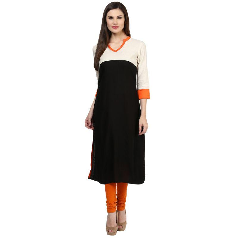 Buy Rangeelo Rajasthan Women's Jaipur Solid Straight Rayon Kurti_rar148black online