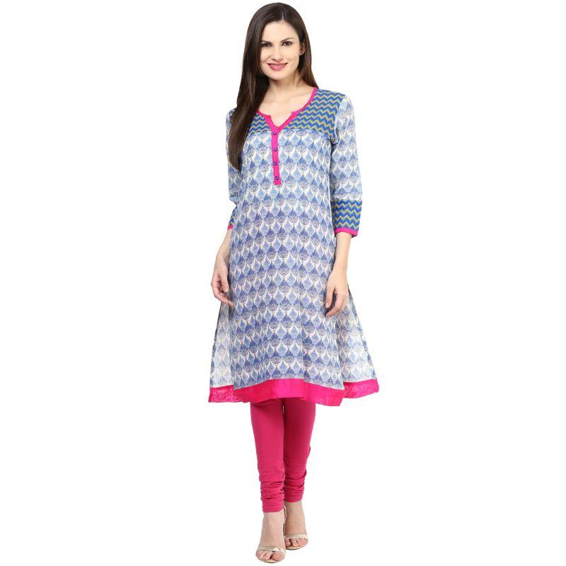 Buy Rangeelo Rajasthan Women's Jaipur Printed Straight Cotton Kurti_rar151blue online