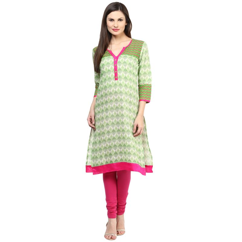 Buy Rangeelo Rajasthan Women's Jaipur Printed Straight Cotton Kurti_rar151green online