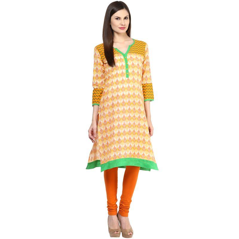 Buy Rangeelo Rajasthan Women's Jaipur Printed Straight Cotton Kurti_rar151yellow online